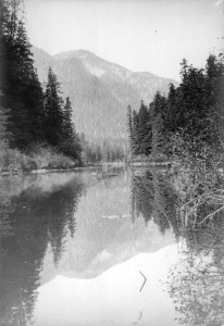 View of Buntzen Lake at present suspension bridge