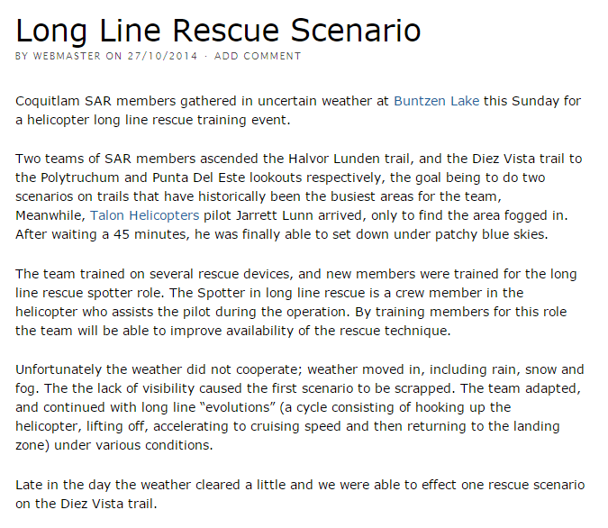 Long Line Rescue Scenario - Coquitlam Search and Rescue
