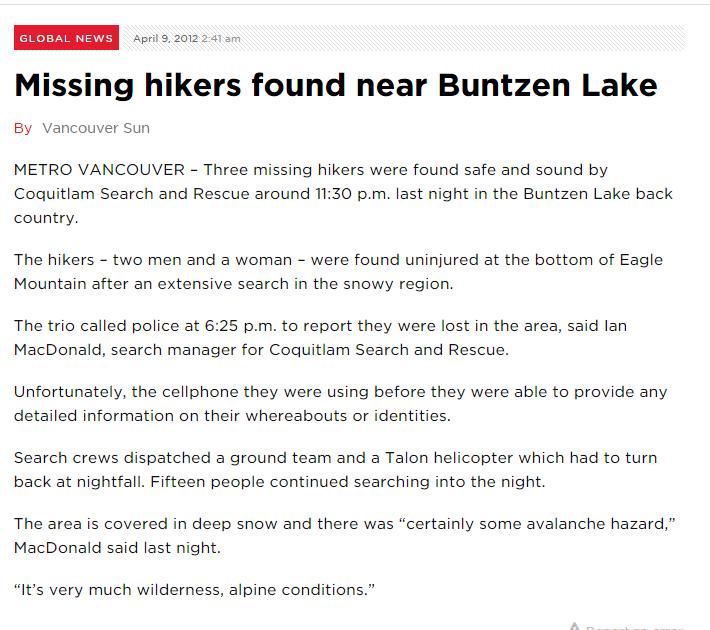 Missing hikers found near Buntzen Lake    Globalnews.ca