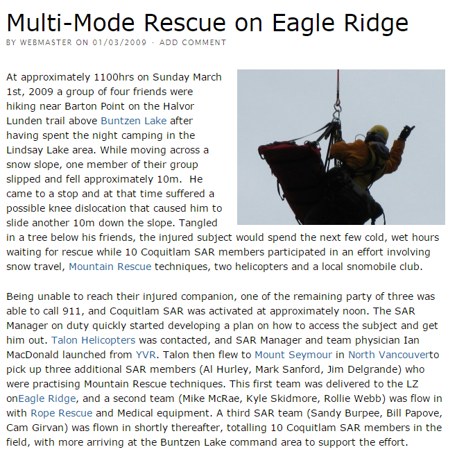 Multi-Mode Rescue on Eagle Ridge - Coquitlam Search and Rescue