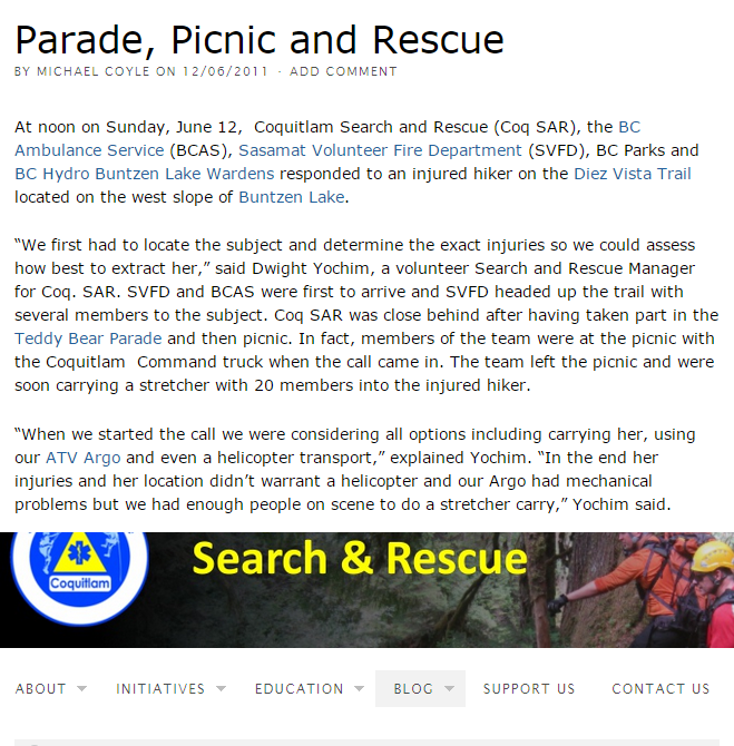 Parade, Picnic and Rescue - Coquitlam Search and Rescue