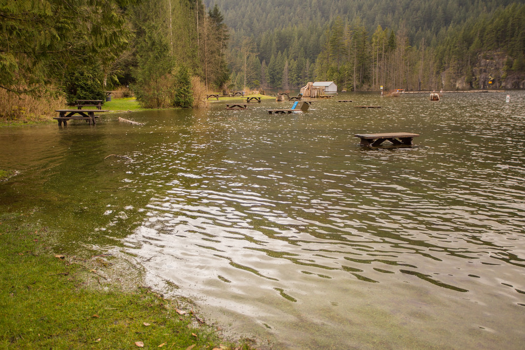 South Beach flooded at Buntzen Lake