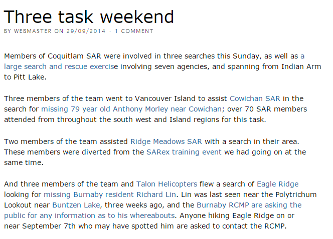 Three task weekend - Coquitlam Search and Rescue