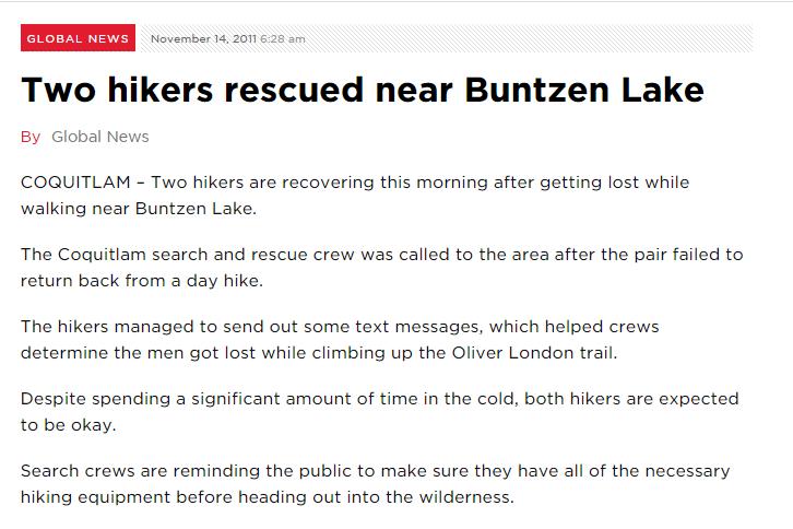 Two hikers rescued near Buntzen Lake    Globalnews.ca
