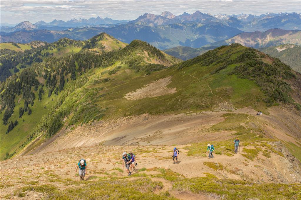 Way up to ridgeline peak