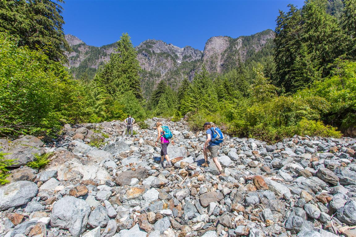 Hiking up boulder field