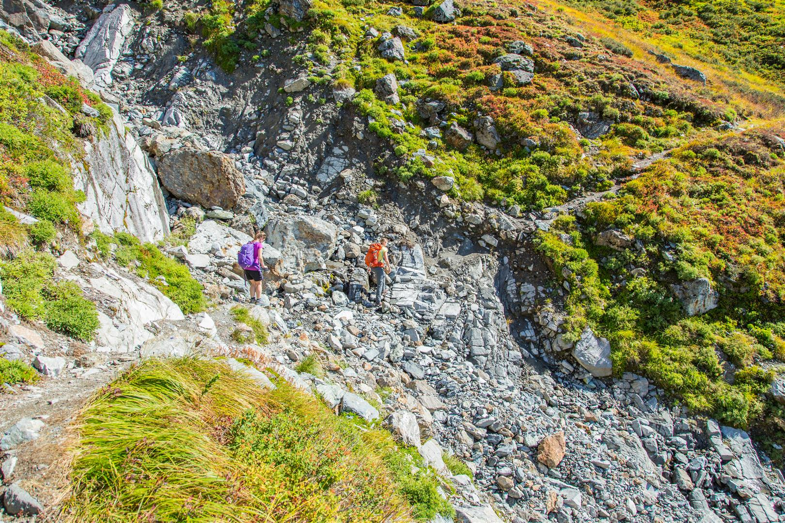 Crossing small boulder field