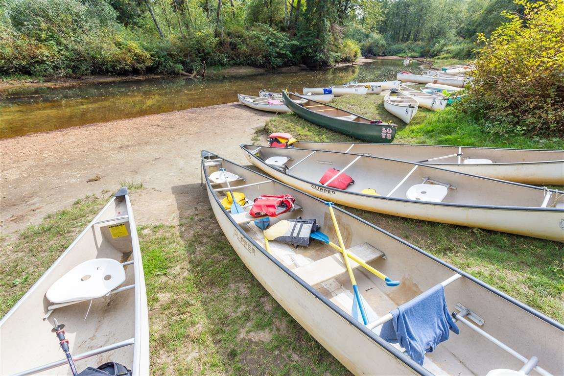 Canoes at the campground